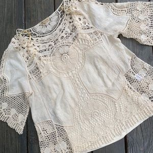 Cream Lace Crocheted Top
